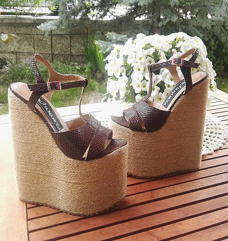 Brown Espadril 20 cm Heigh Heel Wedge Sandals - Tajna Club