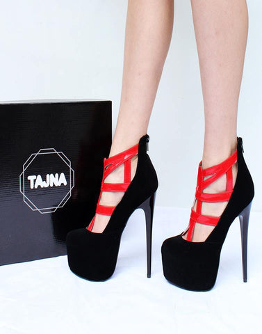 Black Red Cage High Heel Platform Shoes - Tajna Club