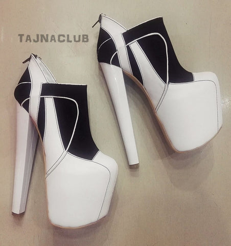 Boots Black and White Platform High Heel Shoes - Tajna Club