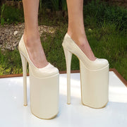30 cm Super High Heel Platforms Cream - Tajna Club