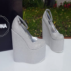 e2332a3e40db Silver Shiny Ankle Strap Wedge Platform Shoes