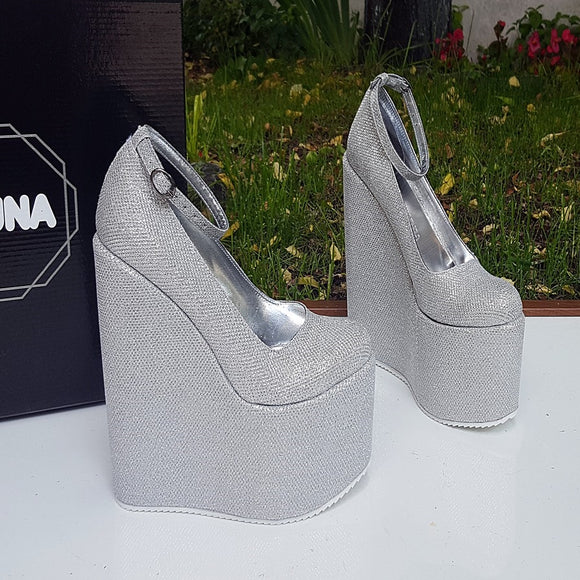 Silver Shiny Ankle Strap Wedge Platform Shoes - Tajna Club