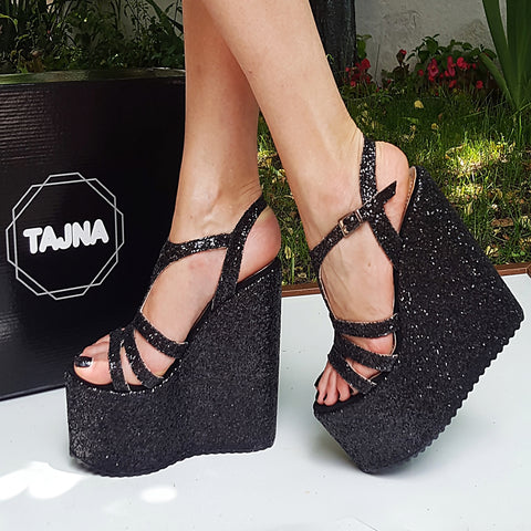 Black Shiny Multi Strap Wedge Platform Sandals - Tajna Club
