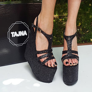 62be5d063d54 Black Shiny Multi Strap Wedge Platform Sandals – Tajna Club