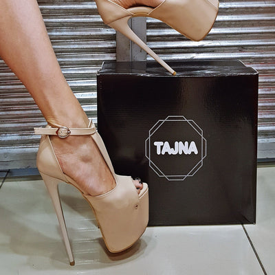 High Heel Beige Peep Toe Platforms - Tajna Club