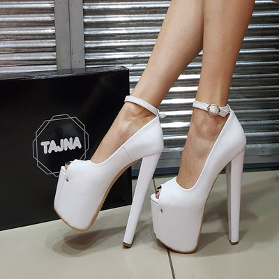White Ankle Strap Peep Toe Heel Platform Shoes - Tajna Club