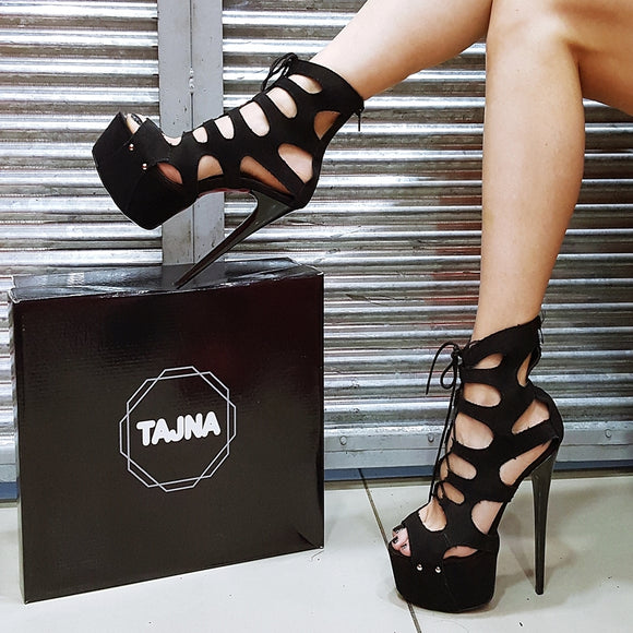 Black Faux Suede Lace Up Cage Platform Heels - Tajna Club