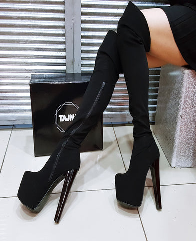 Black Strech Plaform High Heel Boots - Tajna Club