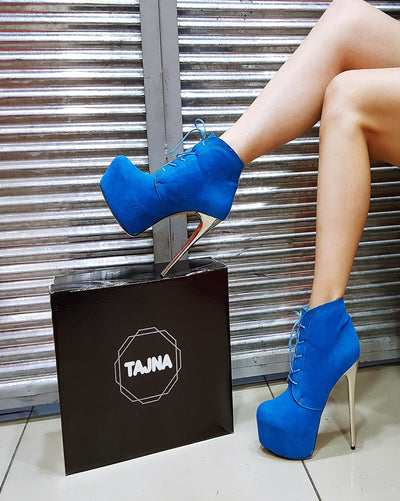 Blue Lace Up High Heel Platform Booties - Tajna Club