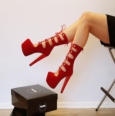 Red Gladiator Lace Up Chunky Heel Boots - Tajna Club