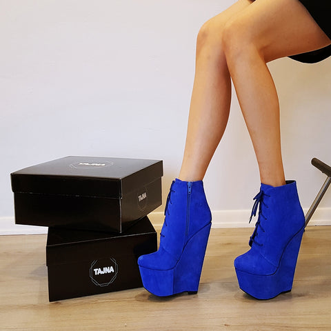 Parlament Blue Suede Lace Up Wedge Ankle Booties - Tajna Club