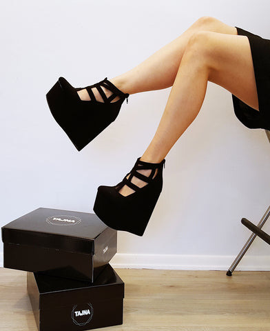 Black Faux Suede Cage Ankle Wedge Shoes - Tajna Club