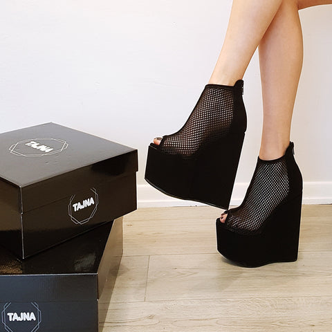 Black Peep Toe Mesh Ankle Wedge Booties - Tajna Club