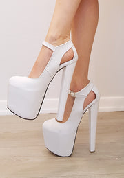 White Classic Ankle High Heel Platform Shoes - Tajna Club