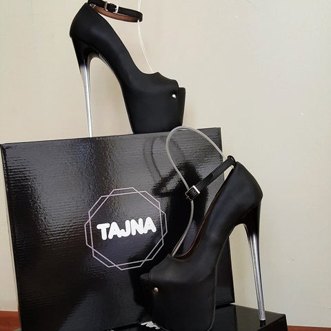 19 cm Glass Transparent Heel Peep Toe Black Platform Shoes - Tajna Club