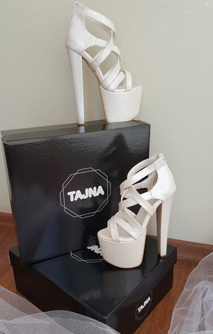 Ivory White Multi Strap High Heel Platform Shoes - Tajna Club