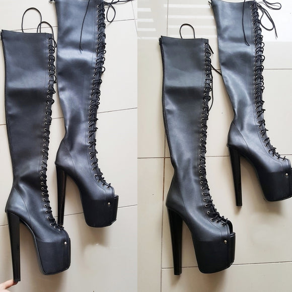 Black Knee High Gladiator Boots - Tajna Club