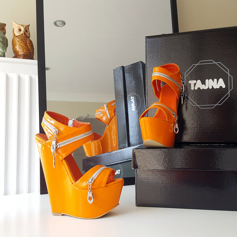 Orange Zipper 17 cm High Heel Wedge Shoes - Tajna Club