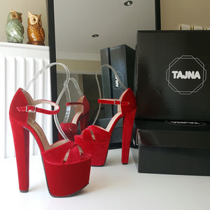 Red Cross Strap Ankle Strap High Heel Platform Shoes - Tajna Club