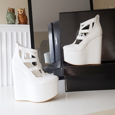 White Cage 16 cm High Heel Wedge Shoes - Tajna Club