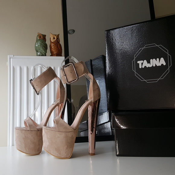 Bold Ankle Strap Peep Toe  Beige High Heel Platform Shoes - Tajna Club