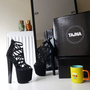 Lazer Black Faux Suede Designer Platform Shoes - Tajna Club