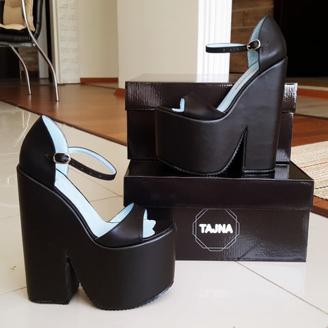 Black  Wedge Heel Platform High Heels Shoes - Tajna Club