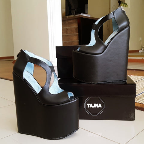 Black Slit Side Designer High Platform Wedge Shoes - Tajna Club
