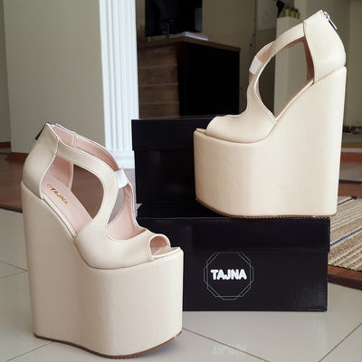 Cream Wedge Heel Platform High Heels Shoes - Tajna Club