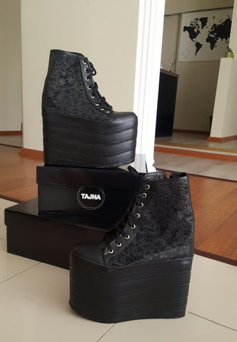 Lace Up Black Lace Wedge Platform Shoes - Tajna Club