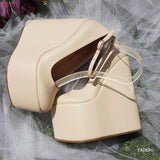 Cream Ankle Strap Wedding High Heel Platform Wedge Shoes - Tajna Club