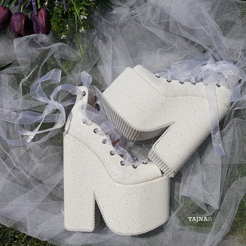 Sparkling White Lace Up Balerinas Super Wedge Shoes 20 cm - Tajna Club