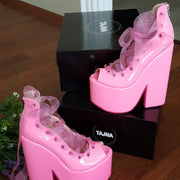 Pink Lace up Ballerina Wedges 22 cm - Tajna Club