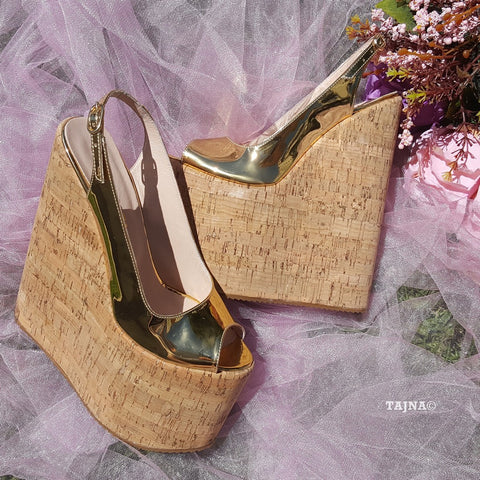 Golden Peep Toe Platform Wedge Shoes - Tajna Club