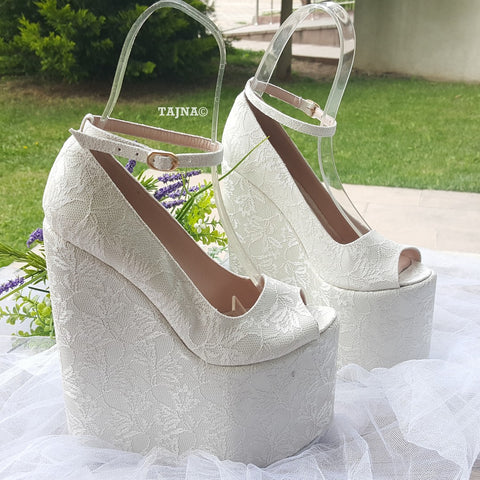 Bridal Collection Peep Toe 21 cm Platform Wedge Shoes - Tajna Club