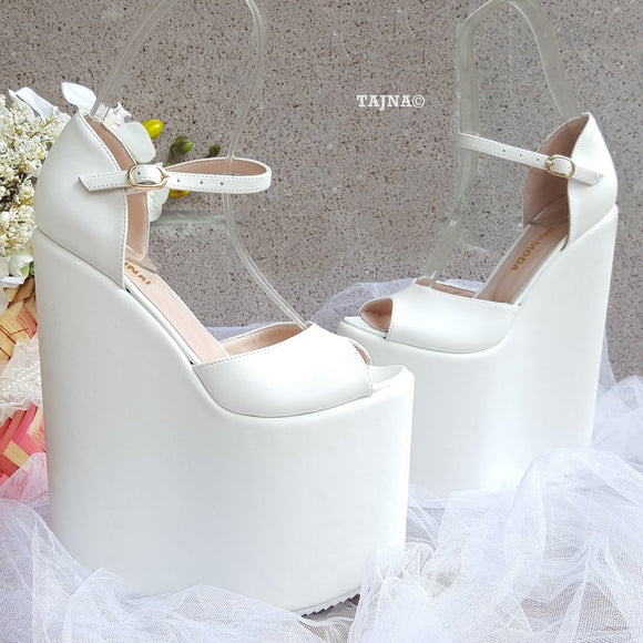 21 cm White Strap Wedding High Heel Platform Wedge Shoes - Tajna Club