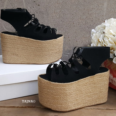 Summer Lace Up Black Wedge Platform Sandals - Tajna Club