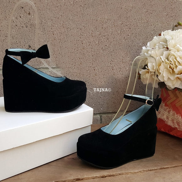 Black Ribbon  Ankle Strap Wedge Platform Shoes - Tajna Club