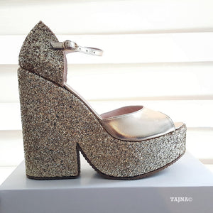 Ankle Strap Silver Shimmer Platform Wedge Sandals - Tajna Club