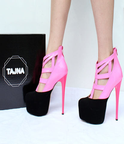 Black Pink Cage High Heel Platform Shoes - Tajna Club