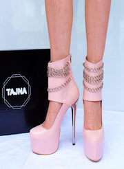 Chain Touch Bootie Light Pink  High Heel Platform Shoes - Tajna Club