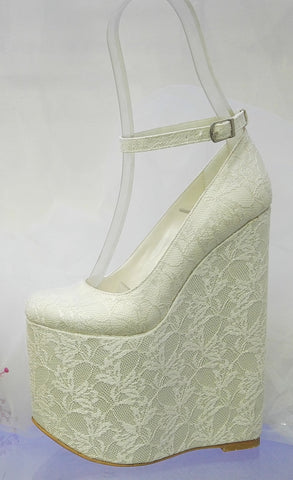 White Lace 20 cm High Heel Wedding Wedges – Tajna Club