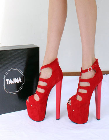 Red Cage Platforms Pole Shoes - Tajna Club