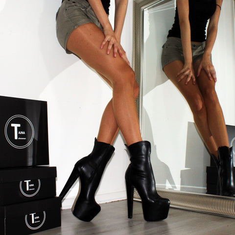 Black High Heel Platform Ankle Boots - Tajna Club