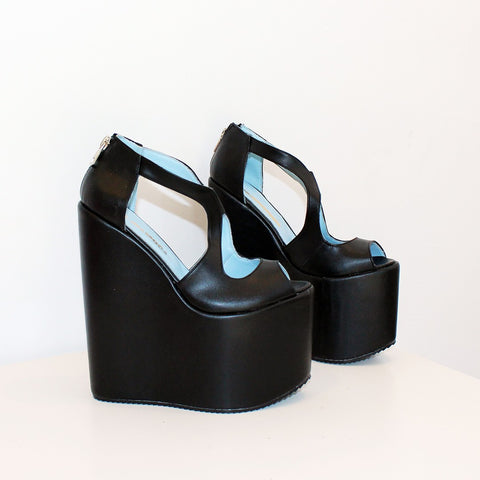 Slit Peep Toe Black High Heel Wedge Platform Shoes - Tajna Club