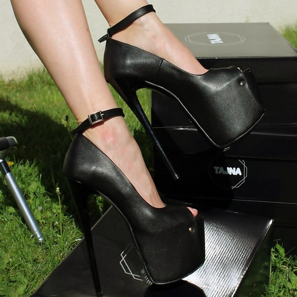 34899afd5df4 Ankle Strap Black Faux Leather 20 cm High Heel Shoes - Tajna Club