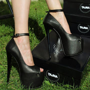Ankle Strap Black Faux Leather High Heel Shoes - Tajna Club