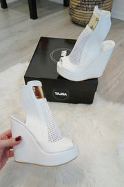 White Filet Peep Toe Wedge Platform Shoes - Tajna Club