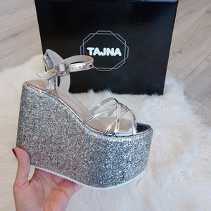 65ec34d43a24 Ankle Strap Silver Shiny Wedge Platform Sandals – Tajna Club