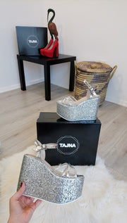 Ankle Strap Silver Shiny Wedge Platform Sandals - Tajna Club